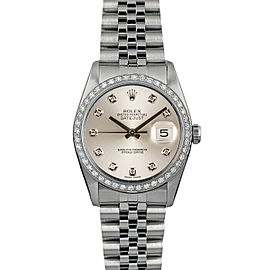Rolex Datejust 16014 36mmStainless Steel Silver Diamond Women's Automatic