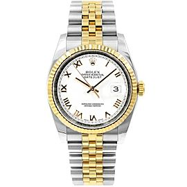 Rolex Datejust 116233 36mmSteel & Yellow Gold White Roman Women's Automatic