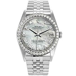 Rolex Datejust 16234 36mmStainless Steel Black Mother of Pearl Women's