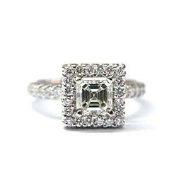 Platinum Asscher Cut NATURAL Diamond Pave Engagement Ring 1.86Ct