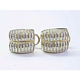Fine Baguette Diamond Yellow Gold Huggie Earrings 19mm 2.00Ct