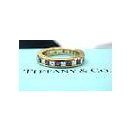 Tiffany & Co 18Kt Gem Ruby Diamond Band Yellow Gold Enternity Band Ring 1.40CT
