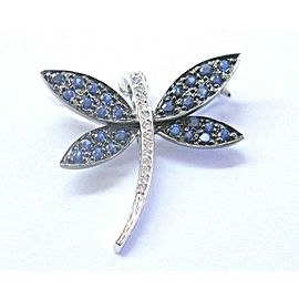 Butterfly Brooch Natural Sapphire & Diamond Solid White Gold 18Kt .85Ct 1""