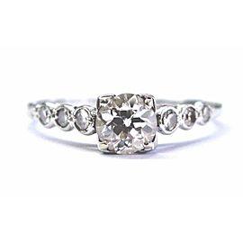 18Kt Vintage Old European Cut Diamond White Gold Engagement Ring .74Ct H-VS1