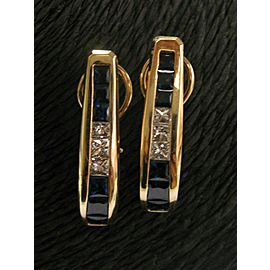 "Natural Sapphire & Diamond Yellow Gold LONG Huggie Earrings 1.25"" 14KT 3.80CT"