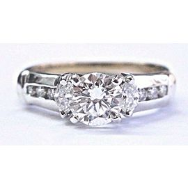 Round & Marquise Diamond Engagement Ring Two Tone H-VS2 IGI 1.30Ct SIZEABLE 14KT