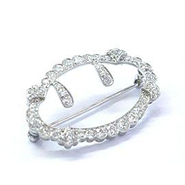 "Vintage Platinum Old European Cut NATURAL Diamond Milgrain Pin 3.00Ct 1.5"""