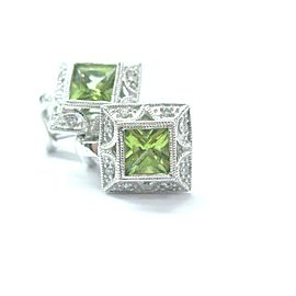 Natural Peridot Diamond White Gold Square Stud Earrings 14Kt 2.16Ct 10mm
