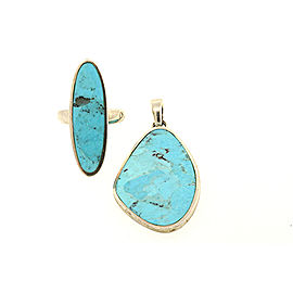 Barse Sterling Silver Inlay Turquoise Ring & Pendant Set
