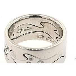 Georg Jensen Fusion 3 Ring Set Diamonds 18k White Gold sz 54 US 7.5 $3625 & Box