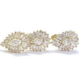Fine Pear Shape & Baguette Diamond Yellow Gold Earrings & Pendant 2.90Ct