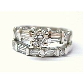Round & Baguette Diamond Engagement Set 18Kt White Gold 1.12Ct H-SI1 SIZEABLE