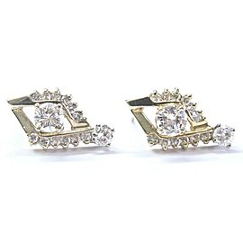 Fine Round Cut Diamond Yellow Gold Drop Earrings 14KT 1.25Ct