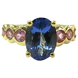18Kt Natural Oval Tanzanite & Round Pink Sapphire Yellow Gold Ring 4.07Ct