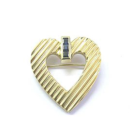 Tiffany & Co 18Kt Gem Blue Sapphire Yellow Gold Heart Pin / Brooch .50Ct