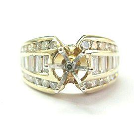 Round & Baguette Diamond Semi Mount Engagement Ring 14Kt YG 1.16Ct (.75Ct-1.00Ct