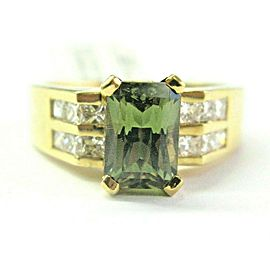 Demantoid Garnet & Diamond Ring 18Kt Yellow Gold 2.65Ct + 1.00Ct F VS1