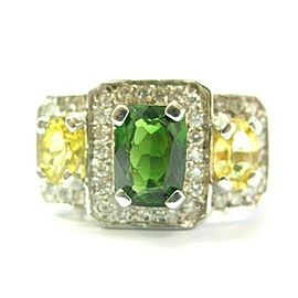 Green Tourmaline Yellow Sapphire & Diamond Ring 18Kt White Gold 4.55Ct