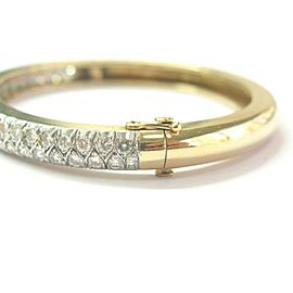 Two Row Round Diamond Bangle 14Kt Yellow Gold 3.30Ct G-VS1 6mm WIDE