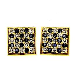 Fred Paris Cuff Links Cufflinks 6ctw Diamond Sapphire 18k Yellow Gold
