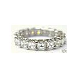 14KT Asscher Cut NATURAL Diamond SOLID White Gold Eternity Band 2.85Ct Size 4.5