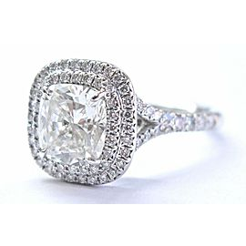 Tiffany & Co Platinum Cushion Cut Diamond SOLESTE Engagement Ring 2.46Ct G-VS1