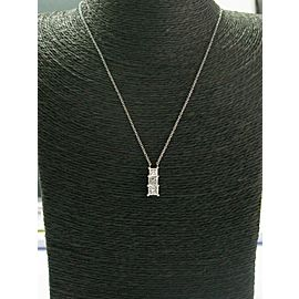 Platinum Three Stone Princess Cut Diamond Pendant Necklace 2.00Ct GIA E-F/VS1-VS