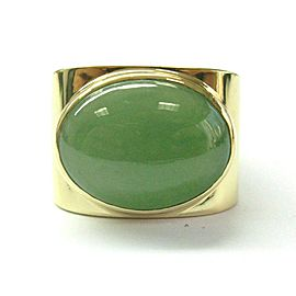 Natural Jade 18Kt Yellow Gold Ring 16.00Ct Size 10.5 SIZEABLE