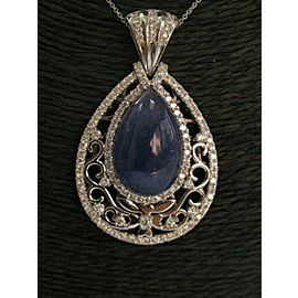 "Blue Quartz & Diamond Pendant W Chain 18Kt White Gold 12.25Ct 18"" 2"""