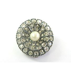 Victorian Antique Old Mine & Rose Cut Diamond Pearl Brooch 14Kt & SS 3.45CT
