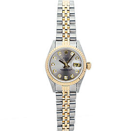 Rolex Datejust 69173 Women's Silver Diamond Yellow Gold 26mm 1 Year Warranty