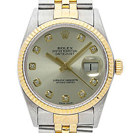Rolex Datejust 36mm 16013 Unisex Silver Diamond Yellow Gold 36mm 1 Year Warranty