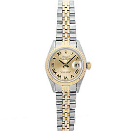 Rolex Datejust 69173 Women's Champagne Roman Yellow Gold 26mm 1 Year Warranty