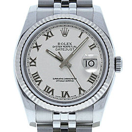 Rolex Datejust 36mm 116234 Unisex White Roman White Gold 36mm 1 Year Warranty