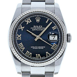 Rolex Datejust 36mm 116234 Unisex Blue Roman White Gold 36mm 1 Year Warranty