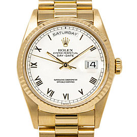 Rolex Day-Date 36mm 18038 Men's White Roman Yellow Gold 36mm 1 Year Warranty