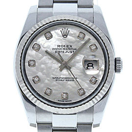 Rolex Datejust 116234 Unisex White MOP Diamond White Gold 36mm 1 Year Warranty