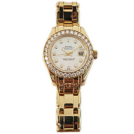 Rolex Masterpiece 69298 Women's White MOP Diamond Gold Diamond 29mm 1YearWty