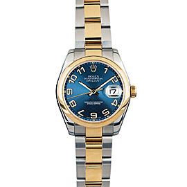 Rolex Datejust 178243 Women's Blue Concentric Arabic Yellow Gold 31mm 1YearWty