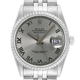 Rolex Datejust 36mm 16220 Unisex Silver Roman Steel 36mm 1 Year Warranty