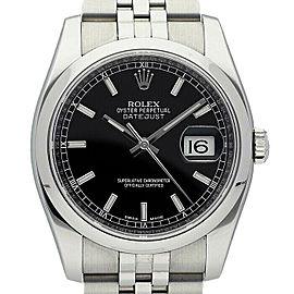 Rolex Datejust 36mm 116200 Unisex Black Index Steel 36mm 1 Year Warranty