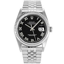 Rolex Datejust 36mm 16234 Unisex Black Roman White Gold 36mm 1 Year Warranty