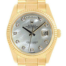 Rolex Day-Date18238 Men's White MOP Diamond Yellow Gold 36mm 1 Year Warranty