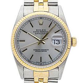 Rolex Datejust 36mm 16013 Unisex Silver Index Yellow Gold 36mm 1 Year Warranty