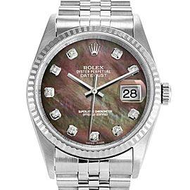 Rolex Datejust 16234 Unisex Tahitian MOP Diamond White Gold 36mm 1 Year Warranty