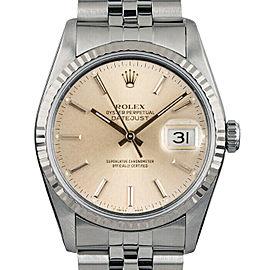 Rolex Datejust 36mm 16014 Unisex Silver Index White Gold 36mm 1 Year Warranty