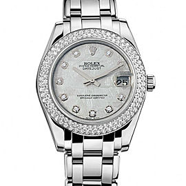 Rolex Masterpiece 81339 Ladies Meteorite Diamond White Gold 34mm 1 Year Warranty