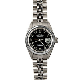 Rolex Datejust 26mm 6916 Women's Black Roman White Gold 26mm 1 Year Warranty