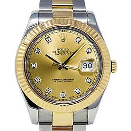 Rolex Datejust II 116333 Men's Champagne Diamond Gold 41mm 1 Year Warranty