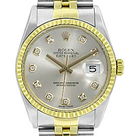 Rolex Datejust 36mm 16233 Unisex Silver Diamond Yellow Gold 36mm 1 Year Warranty